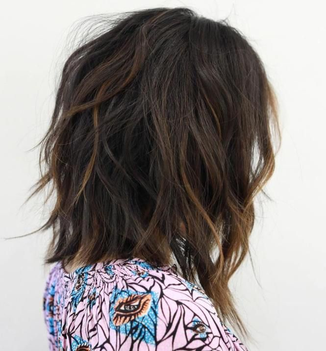 Shaggy Brown Bob With Subtle Highlights