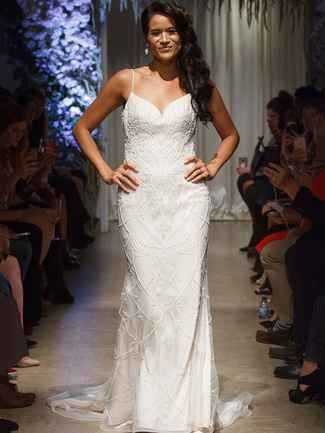 Embroidered wedding dress with beading and straps | Matthew Christopher Fall 2018