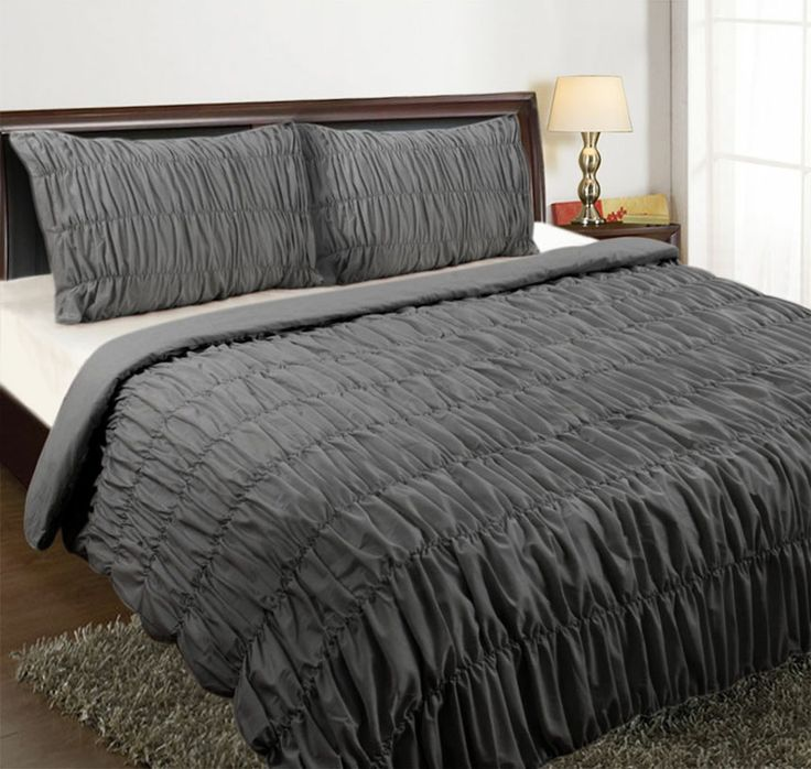 Ruched Quilt Cover Set. Easy Care Polyester/Cotton Fabric. 225 Thread Count. Set Contains Quilt Cover & Pillow Cases.