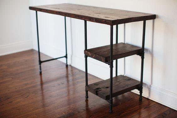 Love this; Reclaimed Wood Desk w/ 2 Shelves. $600.00, via Etsy.: