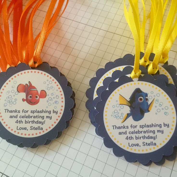 In love with these!!!  Finding Dory and Finding Nemo party favor tags  Personalized!