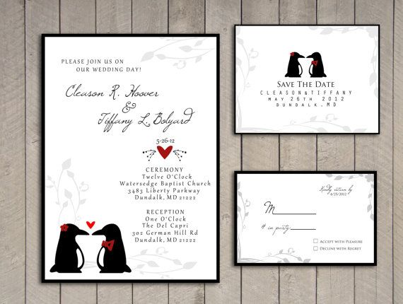 Penguin Wedding Invitation rsvp save the by perfectlywhimsical, $19.99, omfg yes please!!