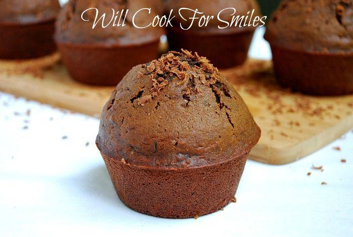 Dark Chocolate Zucchini Muffins - Will Cook For Smiles