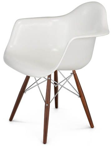 Fiberglass Shell Chair Dowel. Eiffel legs in walnut with zinc wire. Fiberglass. $460