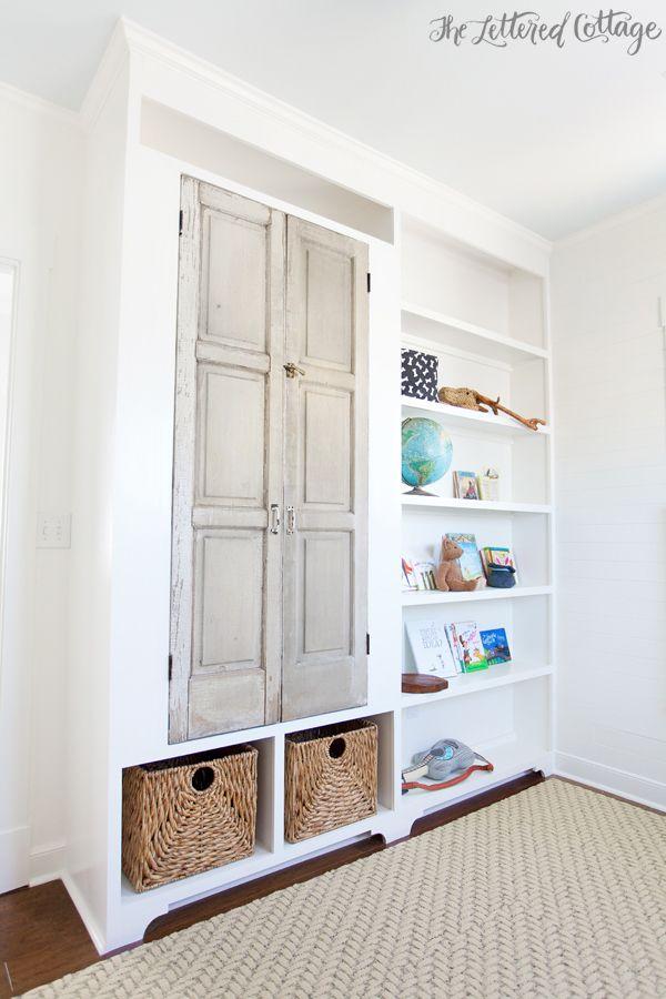 Built in bookcase and storage flor carpet squares for Kids room book shelf