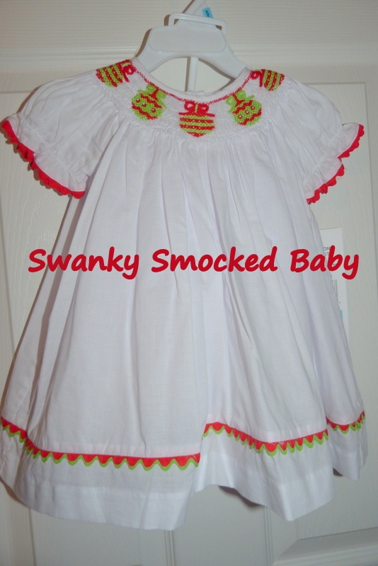 Smocked red green and white christmas ornament bishop dress apparel