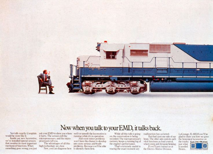Read more: https://www.luerzersarchive.com/en/magazine/print-detail/17979.html Now when you taslk to your EMD, it talks back. Tags: The Martin Agency, Richmond,Hal Tench,John Mahoney,Mike Hughes,Cailer Resnick,Electro-Motive