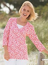 Shop Coral-Print Tunic and other Womens Tunic and Womens Clothing in Misses, Petite, and Plus Sizes at Appleseed's. | Appleseeds