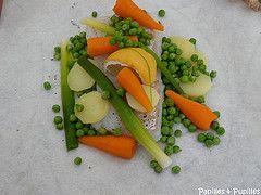 Papillote de poisson aux petits légumes : 1belle carrottes, 1 blanc de poireau, 2 pdt, 1 beau filet de fletan coupé en 2, sel poivre, 1/2cs huile d'olive/ part. Feuilles d'estragon, 1/4 citron/part.