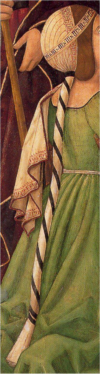 "1500. Vida de San Ildefonso, Maestro de Osma, Soria (detalle) Milanese? It's a variation on ""Sforza hair"" the bound ponytail and cap"