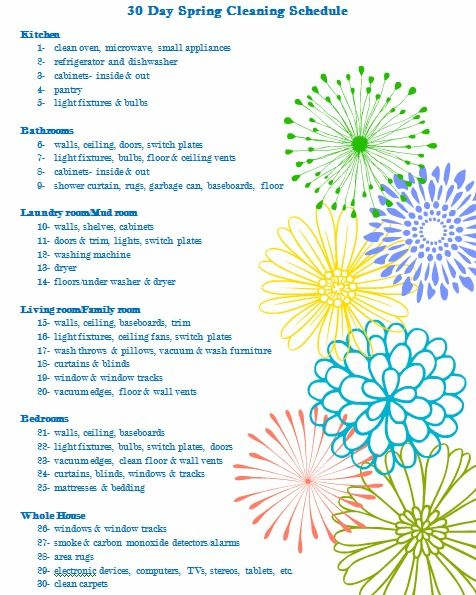 30 Day Spring Cleaning Schedule Printable - Organize and Decorate Everything