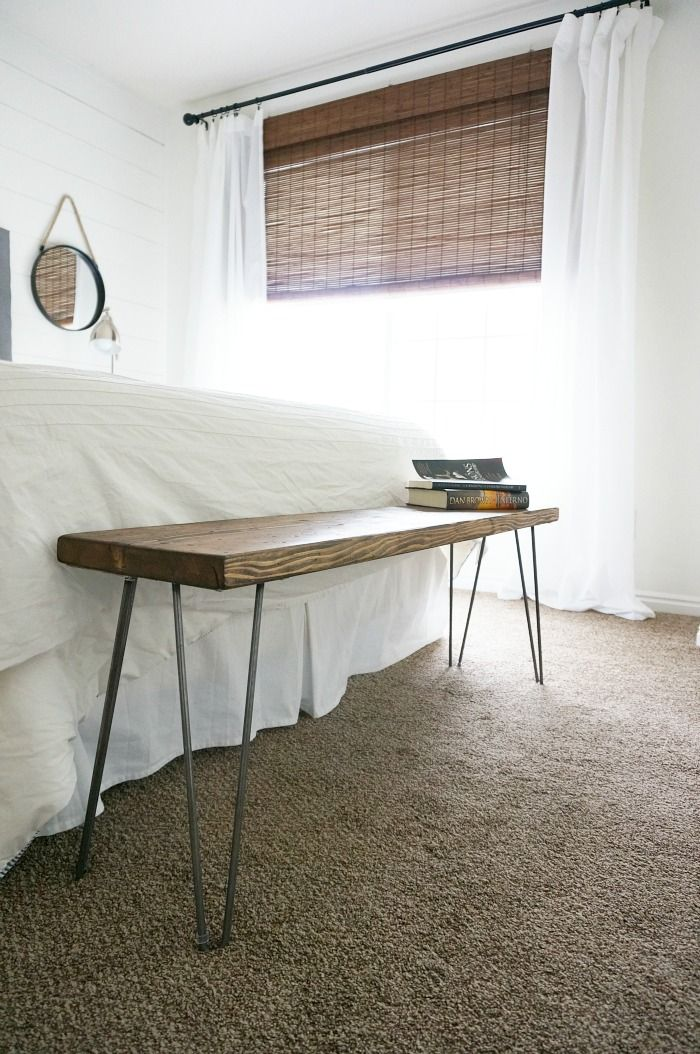 two points for honesty: diy rustic mid century modern bench