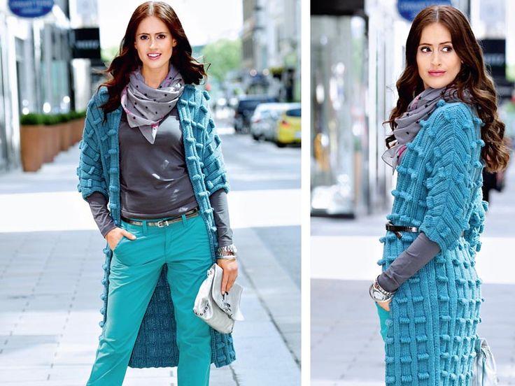 Схема и описание вязания на спицах пальто с рукавом 3/4 из журнала «Verena. Модное вязание» №2/2014