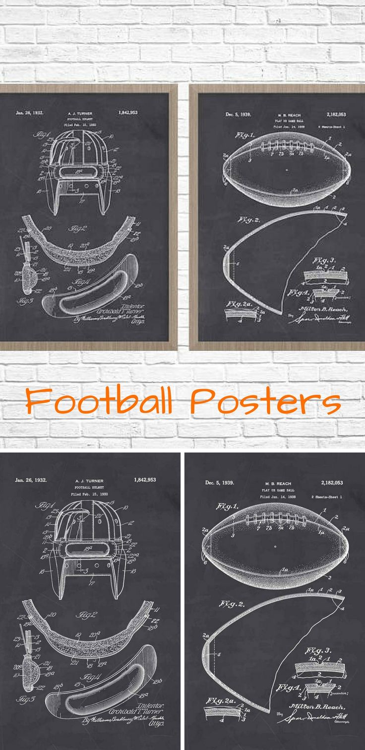 I love these Football posters! These would look great in a den, office or a boys room! #football #patents #poster #gift #sports #homedecor #home #decor #coach #wallart #wall #art #oybpinners #commissionlink