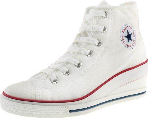 Maxstar 7-Holes Zipper Wedge Low Heels Sneakers Shoes White