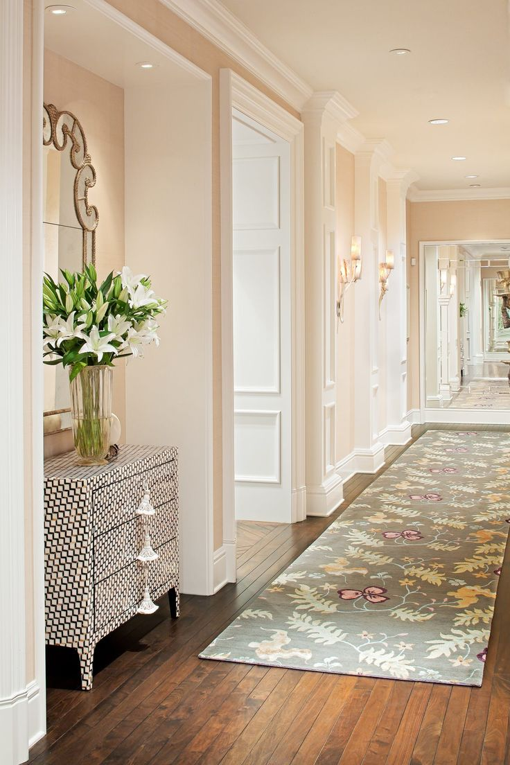 how-to-decorate-narrow-entryway-hallway-entrance-home-cream-peach-moulding-ideas-long-carpet-rug-inspiration-pot-lights-barn-floor