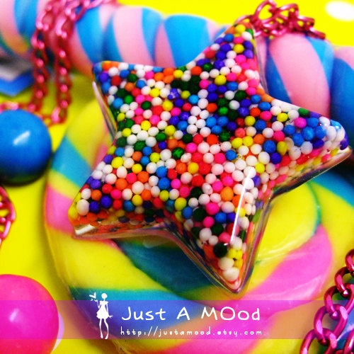 Made with real Rainbow Sprinkles : Pendant Necklace, Sprinkles Stars, Sprinkle Pendants, Pendants Necklaces, Star Necklace, Rainbows Sprinkles, Sprinkles Pendants, Stars Sprinkle, Necklace 3