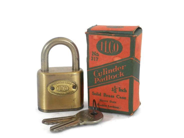 Brass Cylinder Lock Padlock w/2 Keys and Original Box Genuine Pin Tumbler IlCO Independent Lock Co No. 317 by bigbangzero on Etsy