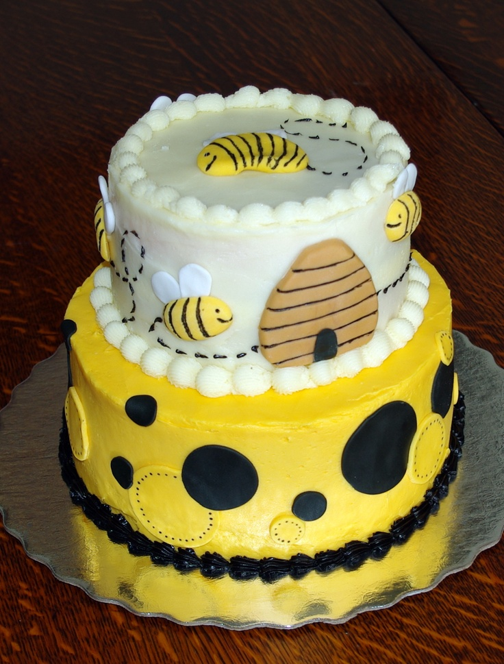 Honey bee cake cake pinterest bee cakes bees and honey for Baby footprints cake decoration