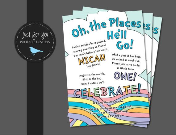 First Birthday Invitation - Oh the Places You'll Go Inspired - Boy, Girl, or Twins - YOU PRINT Custom Printable Birthday Party Invitation