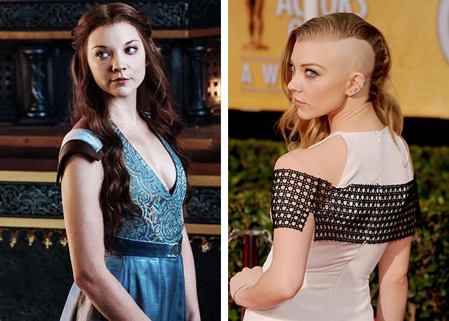 """Natalie Dormer  You know her as long-locked Margaery Tyrell on """"Game of Thrones,"""" but in January 2014 at the Screen Actors Guild awards, actress Natalie Dormer shocked her fans with a half-shaved head. Turns out it's for her role in """"Mocking Jay"""" as Cressida."""