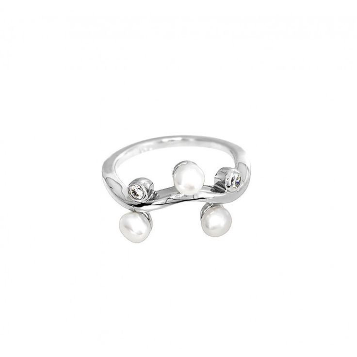 Pearl & Cubic Zirconia Wave Ring #Ring #Silver #Pearl #Bridal #WeddingDay #PearlRing #Wedding