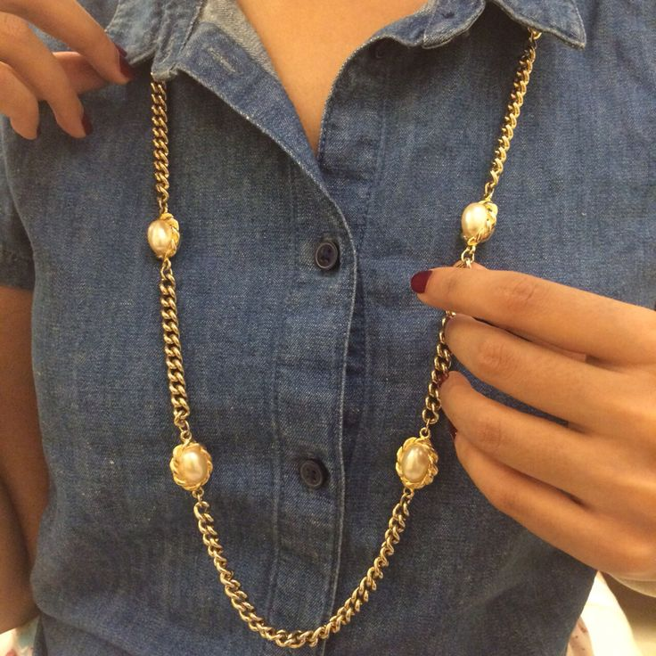 Vintage Marks & Spencer gold and pearl necklace love