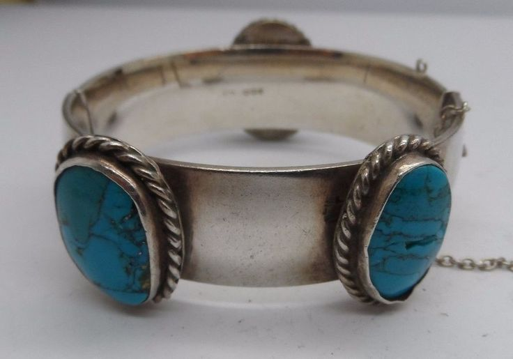 Rare Unusual Heavy Charles Horner Silver & Turquoise Bangle c-1960 No Reserve  | eBay