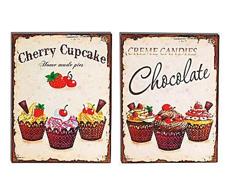 COCINA DE CAMPO: Set de 2 chapas decorativas Cupcakes