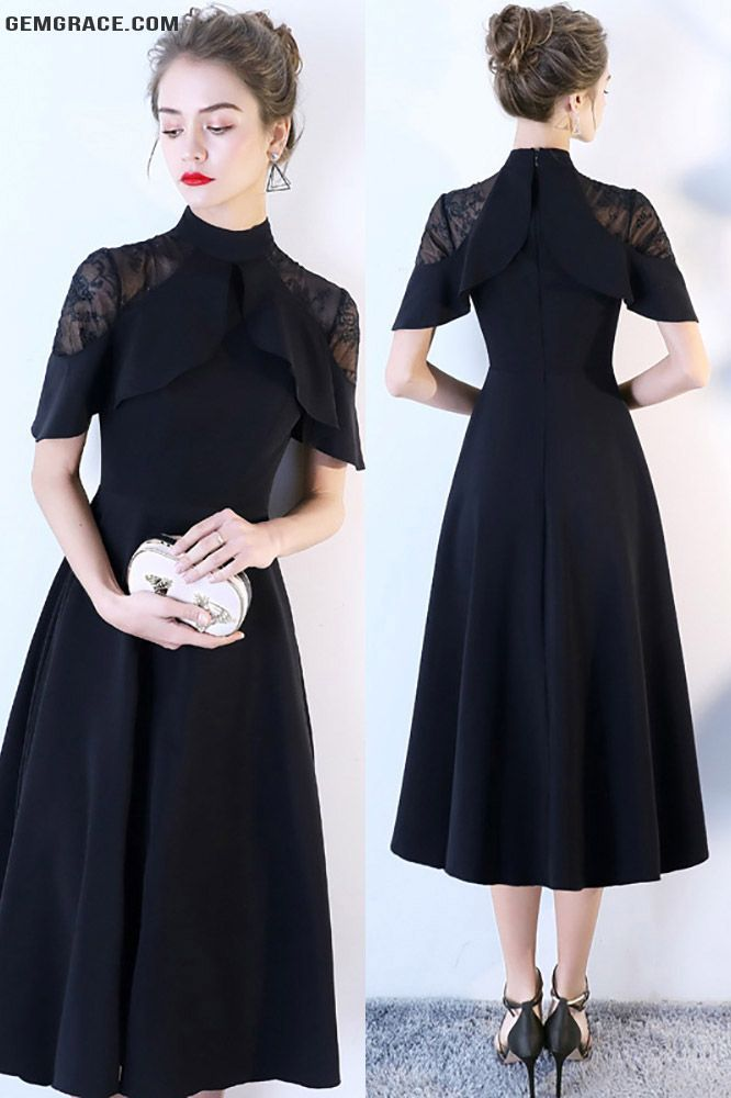 414548df0e72 20% OFF, Special Occasion Dresses Formal Black Tea Length High Neck Occasion  Dress #