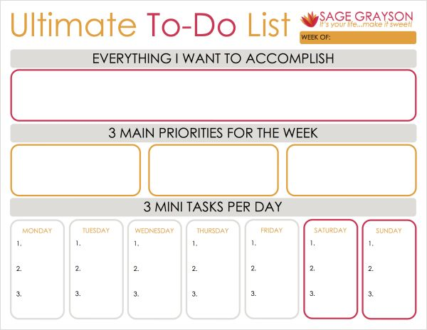The Ultimate To-Do List - Sage Grayson Coaching. Free printable worksheet. Breaking down goals into mini daily tasks.
