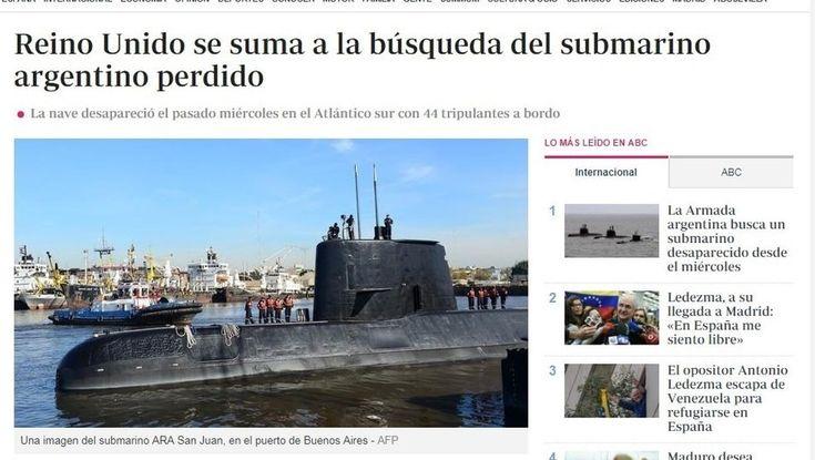 El submarino argentino desaparecido, una noticia que dio la vuelta al mundo.Varios de los más importantes diarios internacionales le dedicaron notas a la búsqueda del ARA San Juan en el Atlántico Sur. LEER MAS