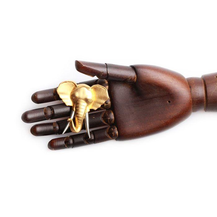 Винтажная брошь в виде головы слона
