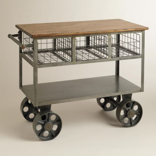 Industrial Kitchen Trolley: Vintage Kitchen Island Industrial Moving Rolling Cart