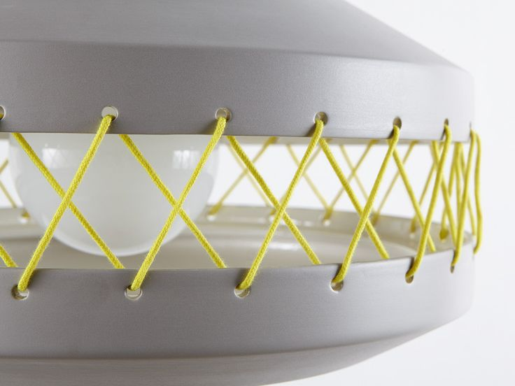 Yellow coloured cotton ties detail for large grey Tie lamp.