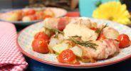 Kohlrabi-Bacon-Sticks mit Rösttomaten und Pesto-Dip