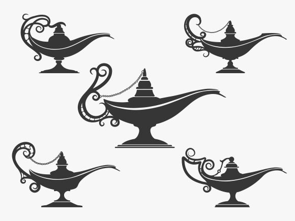 Aladdin lamp icon set by@Graphicsauthor