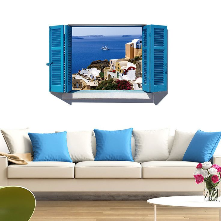 [Fundecor] 3D Mediterranean Blue False Windows Landscape Wall Stickers Home Decor Living Room Interior Wall Decoration