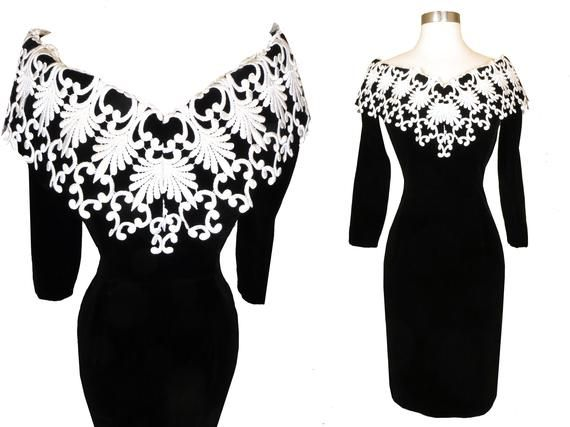 1980s Sparkly black and white party dress Size approx 10
