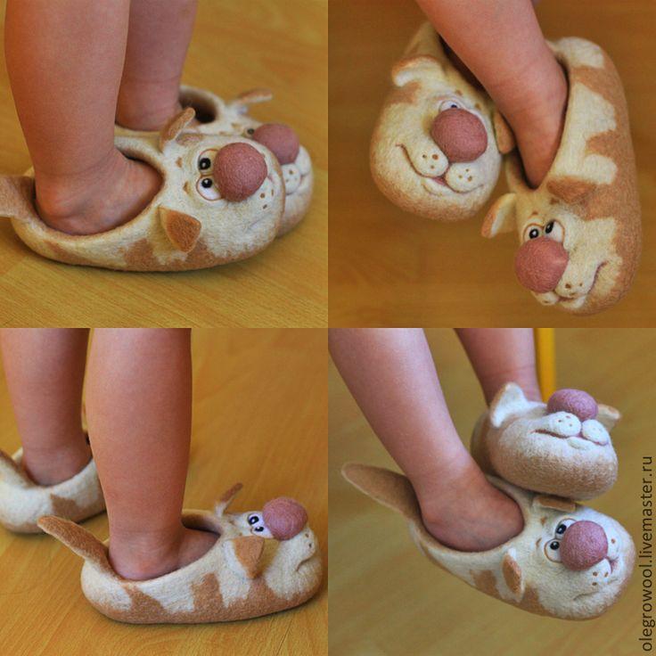 Купить Детские тапочки из шерсти Котейки - бежевый, Тапочки ручной работы, котята, детская обувь