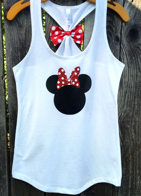 Minnie Mouse Inspired Bow Back Tank Top Woman's by 31Blossoms