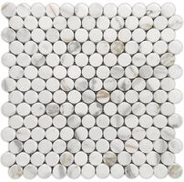 Calacatta Gold Penny Round Polished Marble Mosaic Tile