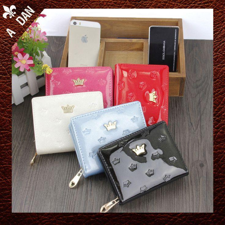 Monederos para mujer carteras de cuero del color del caramelo de la corona Imperial cremallera del cerrojo del 2015 hot sale Ladies casual mujer bolso de embrague(China (Mainland))