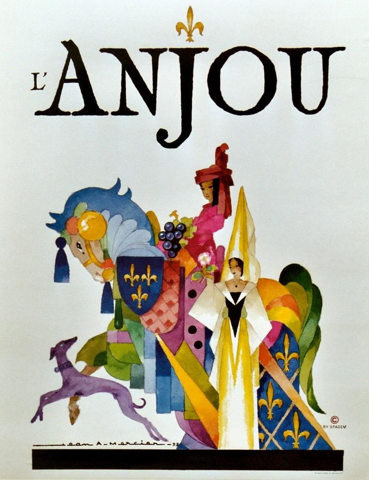 Vintage Travel Poster - l'Anjou -par Jean Adrien Mercier.