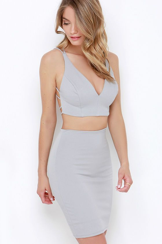 Citified Light Grey Bodycon Two-Piece Dress at Lulus.com!