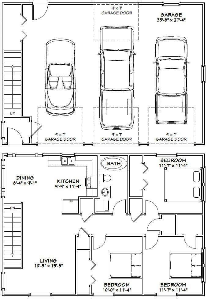 40x28 3-Car Garage -- #40X28G10I -- 1,136 sq ft - Excellent Floor Plans