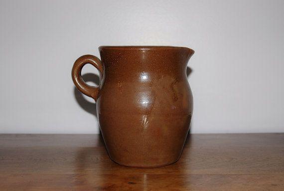 Vintage Brown Glazed Stoneware Pitcher, Hand Thrown American Redware Pottery, Handmade Ceramic Serving Pitcher Rustic Vase, Farmhouse Utensil Holder