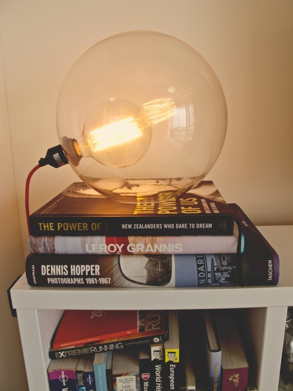 Halo table lamp from Freedom (with large industrial bulb)