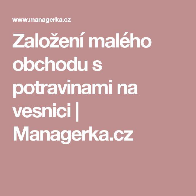 Založení malého obchodu s potravinami na vesnici | Managerka.cz