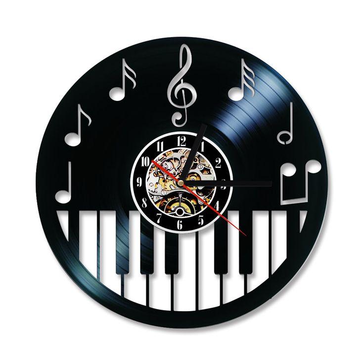 Creux Piano Keybord Disque Vinyle Horloge Creative et Antique Style Noir Ronde Horloge Murale Musique Piano Décor Art Horloge dans Horloges murales de Maison & Jardin sur AliExpress.com | Alibaba Group